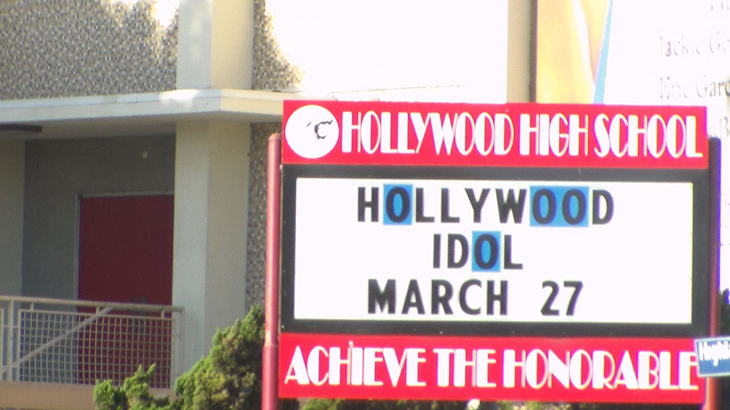 hollywood high school sign